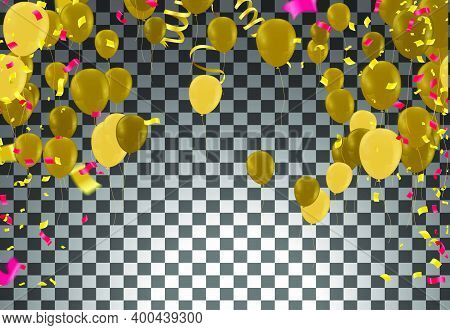 Celebration Party Banner With Golden Balloons And Serpentine.