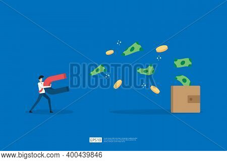 Customer Retention Concept With Man Holding A Magnet. Magnet Attracts Money In Flat Style. Vector Il