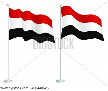 Flag Of Yemen Republic On Flagpole Waving In Wind. Holiday Design Element. Checkpoint For Map Symbol