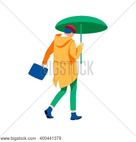 Woman Walking Under Umbrella. Autumn Or Spring Weather Season, Rainy Day. Back View Of Girl Dressed