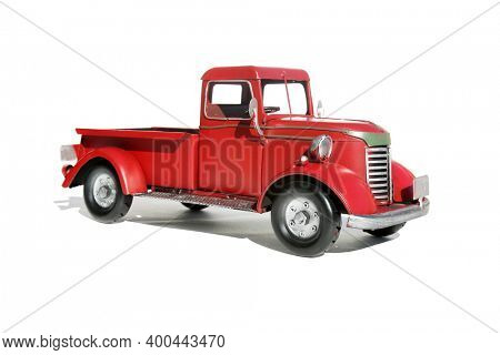 Red Pick Up Truck. Vintage Red Pick Up Truck. Isolated on white. Room for text. Antique truck on white with shadows.