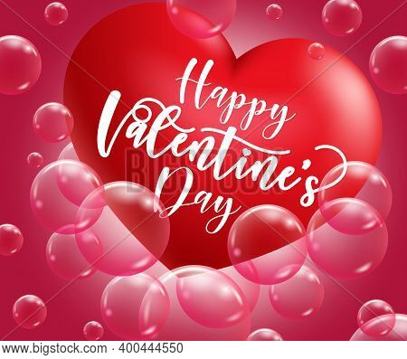 Valentine's Day Vector Background Design. Happy Valentine's Day Text In Red Ribbon With Empty Space