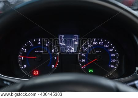 Novosibirsk, Russia - December 12, 2020:  Hyundai Solaris, Sign And Symbol On Car Dashboard. Car Spe
