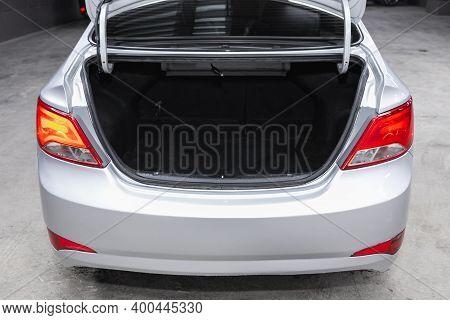 Novosibirsk, Russia - December 12, 2020:  Hyundai Solaris, Rear View Of A Car With An Open Trunk. Ex