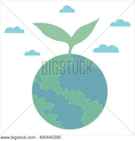 Eco Friendly Clean Planet Earth With Clouds, Vector Icon Icon In Flat Style, Green Leaf, Ecology, Co