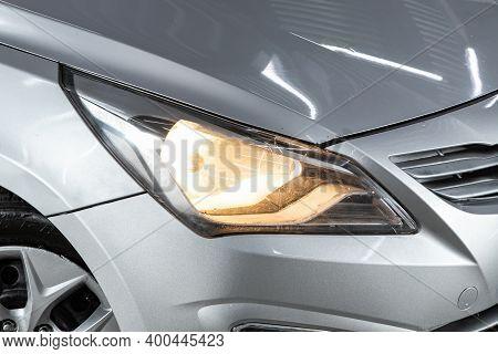 Novosibirsk, Russia - December 12, 2020:  Hyundai Solaris, Exterior Detail . Close Up  Of Modern  Ca