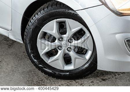 Novosibirsk, Russia - December 12, 2020:  Hyundai Solaris,close Up Of Car Wheel On A Car