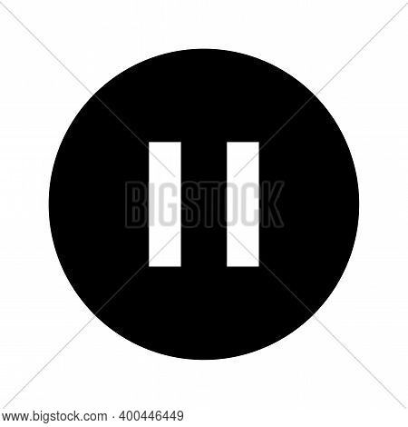 Pause Icon, Pause Symbol In Circle Shape, Pause For Graphic Media