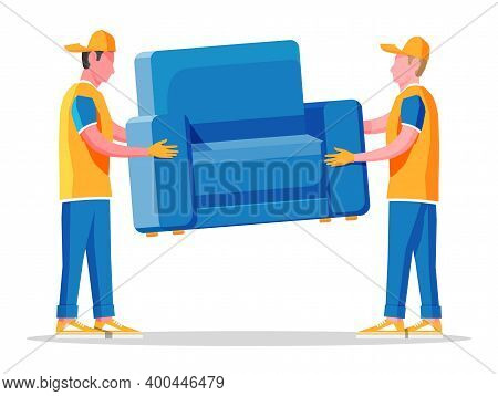 Delivery Character Man Movers Carry Armchair. Two Porters Carry Couch Isolated. Moving Company With