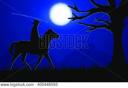 Graphics Image The Man Ride Horse Silhouette Twilight Is A Moon To Night With Mountain Background, D