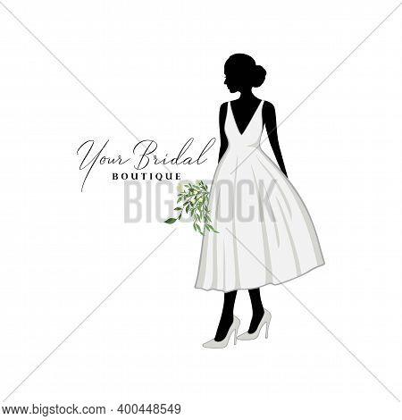 Beautiful Bride Short Gown With Bouquet Flower, Bridal Boutique Logo, Bridesmaid Gown Logo Vector De
