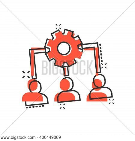 Business Training Icon In Comic Style. Gear With People Cartoon Vector Illustration On White Isolate
