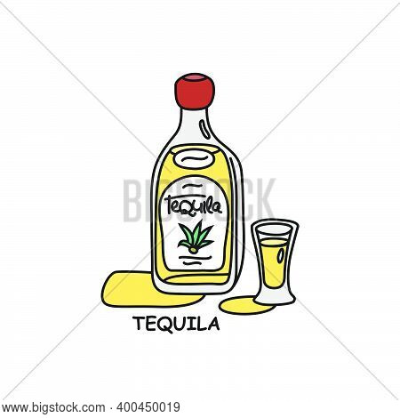 Tequila Bottle And Glass Outline Icon On White Background. Colored Cartoon Sketch Graphic Design. Do