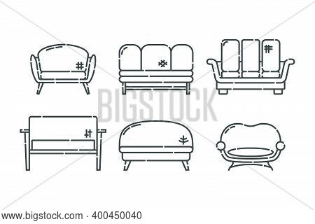 Comfortable Sofa With Pillow. Nine Modern Stylish Object For Relaxation. Image Of Couch In Line Art