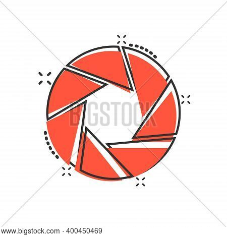 Camera Diaphragm Icon In Comic Style. Lens Cartoon Sign Vector Illustration On White Isolated Backgr