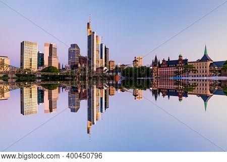 Frankfurt Am Main. Cityscape Image Of Frankfurt Am Main During Sunrise. Serial View