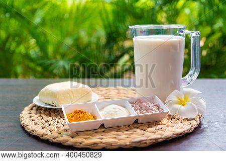 Ingredients For Vegetarian And Vegan Eggs, Milk And Agar Agar, Tofu Yolk And Black Salt With Turmeri