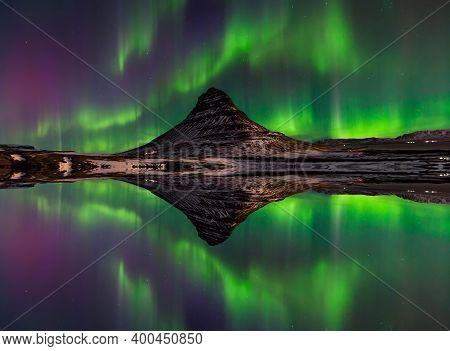 Northern Light, Aurora Borealis At Kirkjufell In Iceland. Kirkjufell Mountains In Winter