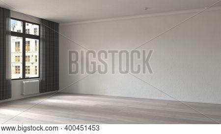 Empty white room interior. 3d Rendering