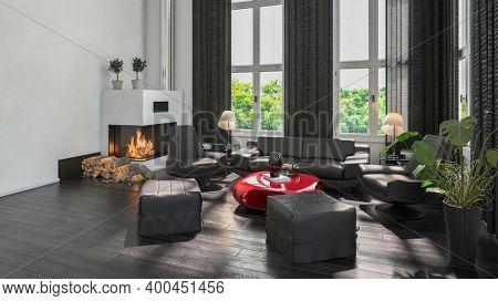 Modern white scandinavian style living room interior. 3d Rendering