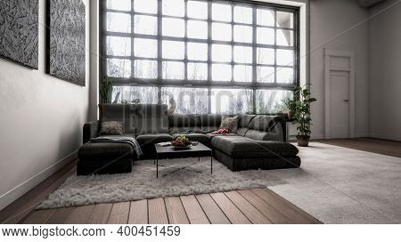 Modern design room interior with a black couch and huge window. 3d Rendering