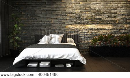 Dark black grunge style bedroom interior with double bed brick wall. 3d Rendering