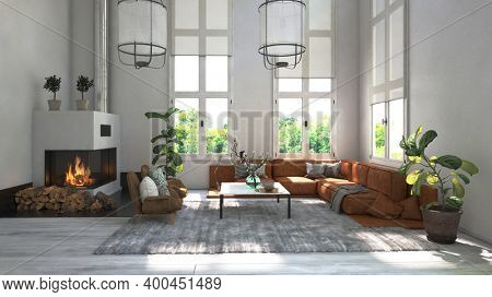 Modern white scandinavian style living room interior with a fireplace. 3d Rendering