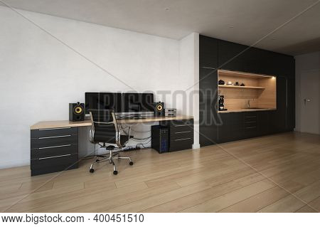 Modern black workplace office interior with desk and kitchen. 3d Rendering