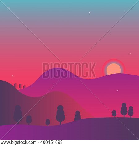 Peaceful Soothing Gradient Nature Scene With Sunrise And Mountain Summit Silhouette