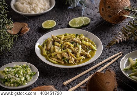 Chicken And Zucchini In Cocos Milk Gravy, Asian Style Food