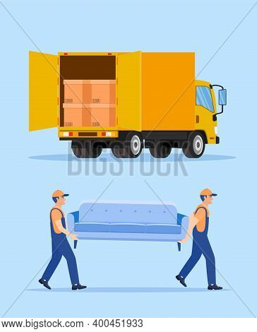 Delivery Character Man Movers Carry Sofa. Moving Company With Loaders And Furniture. Open Delivery T