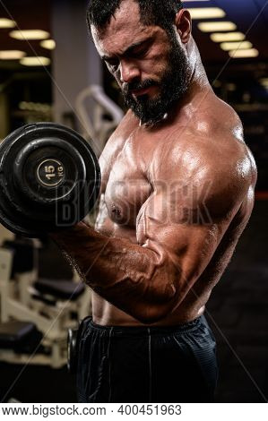 Biceps Heavy Training With Dumbbell By Strong Young Athlete With Beard In Fitness Center Gym