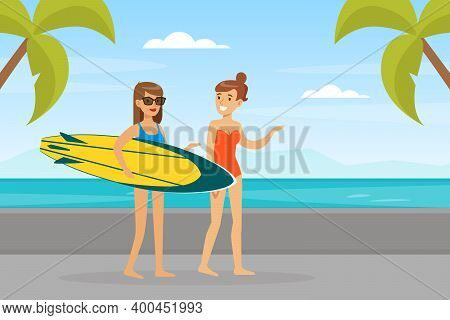 Young Women In Beachwear Walking Along Beach And Holding Surfboard Vector Illustration