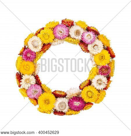 Colourful Wreath Of Straw Flower Isolated On White Background