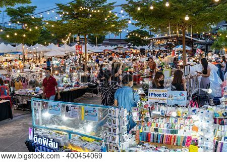 Phuket, Thailand - 17 December 2020 - Locals And Tourists Come To Shop At Chillva Market, A Night Wa