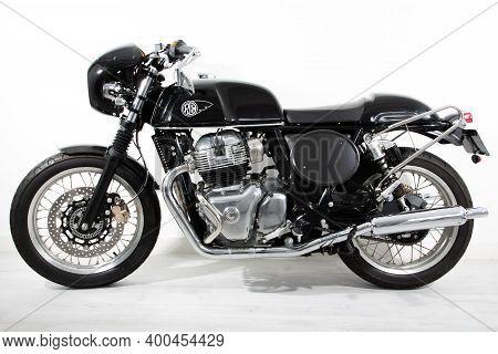 Bordeaux , Aquitaine  France - 12 15 2020 : Royal Enfield Interceptor Gt Cafe Racer Racing Vintage T
