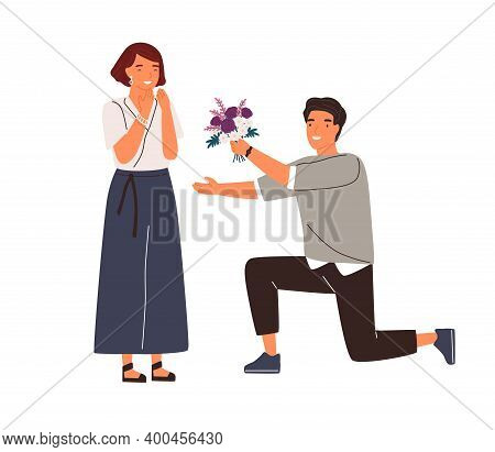 Happy Man Standing On Knee Giving Beautiful Bouquet To Woman Vector Flat Illustration. Male Admirer