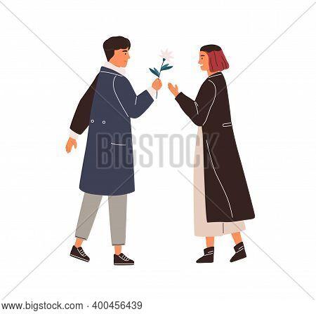 Elegant Man Giving Beautiful Flower To Happy Woman Vector Flat Illustration. Enamored Couple Feeling