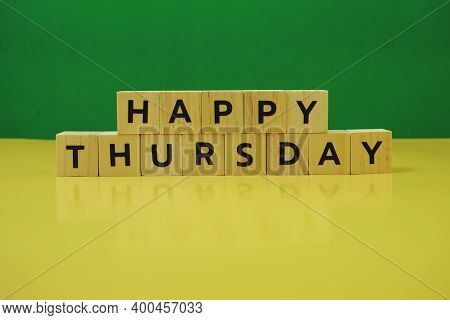 Happy Thursday Alphabet Letter On Green And Yellow Background