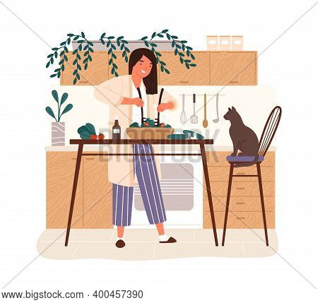 Happy Woman Cooking Dietary Vegetarian Salad In Kitchen Vector Flat Illustration. Smiling Female Cha
