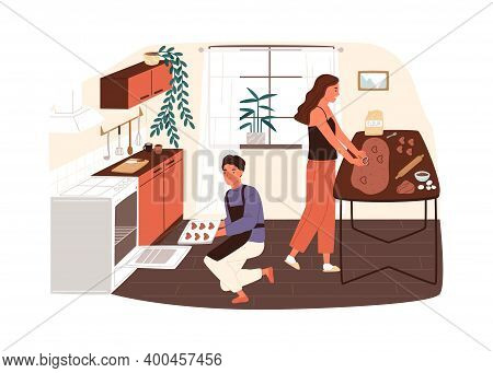 Couple Preparing Cookies Or Gingerbread At Home Kitchen Vector Flat Illustration. Smiling Woman Maki