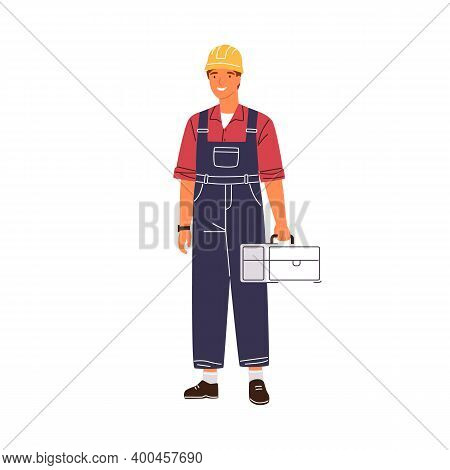 Smiling Male Industrial Worker Holding Toolbox Vector Flat Illustration. Happy Man In Uniform And Ha