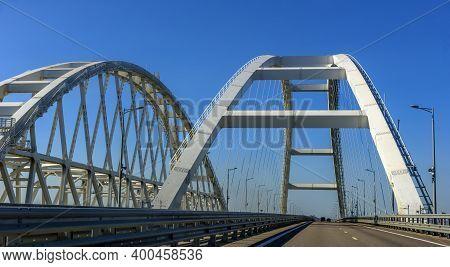 Crimean Bridge, Taman, Russia - 11,09,2020: The Navigable Arch Of The Crimean Bridge. Arch Of The Hi