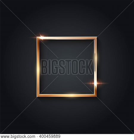 Golden Square Frame For Picture On Gray Background. Blank Space For Picture, Painting, Card Or Photo