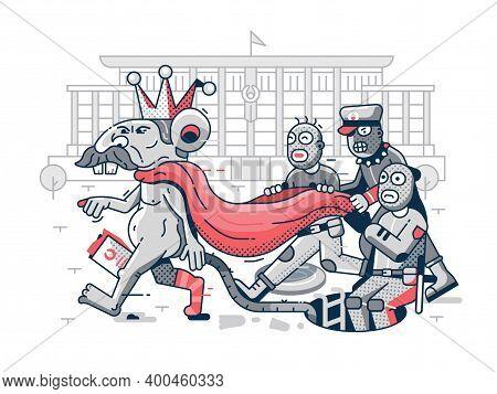 Belarus Dictator Political Caricature In Line Art