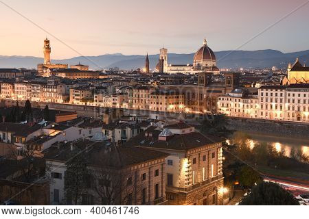 Night Cityscape View Of Florence, From Piazzale Michelangelo In December During Christmas Period. It