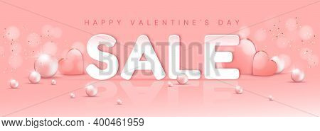 Valentine's Day Big Sale Banner With Hearts And Pearls On The Pink Background . Vector Illustration