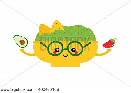 Cute Cartoon Style Mexican Guacamole Dip, Sauce Bowl Character Holding Avocado And Red Chili Pepper.