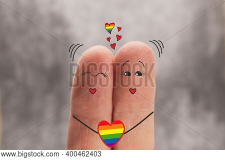 Two Fingers Are Like Two People Who Love Each Other. Illustration Of Same Sex Love. Fingers Like A C