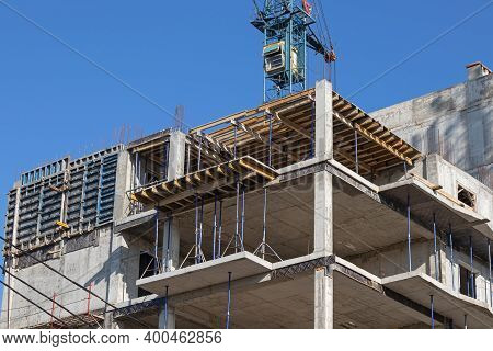 One Of The Stages In The Construction Of A Multi-storey Building. Installation Of Interfloor Floors